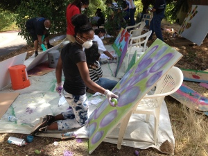 The crew making art in the garden!